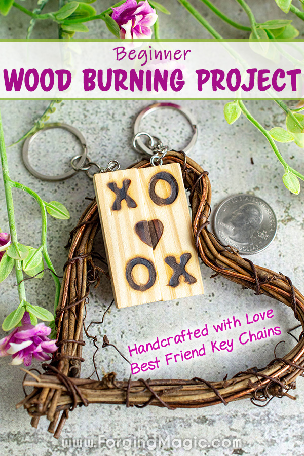 Wood burning project BFF key chains