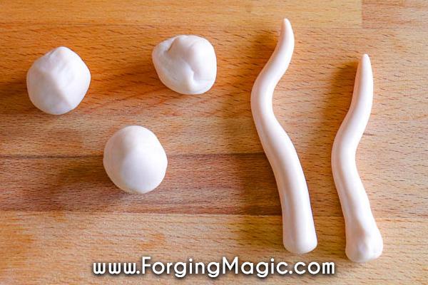 Creating clay mushroom stalks