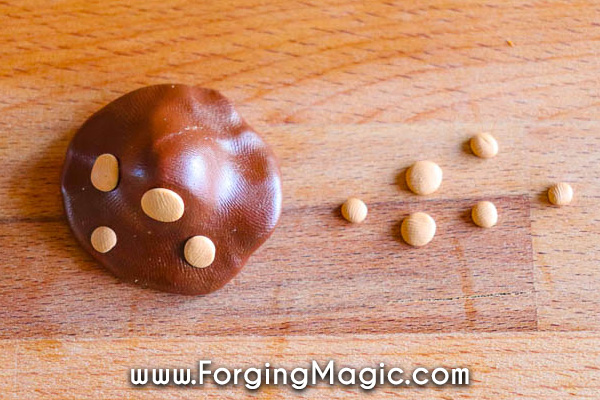 Clay mushroom caps step