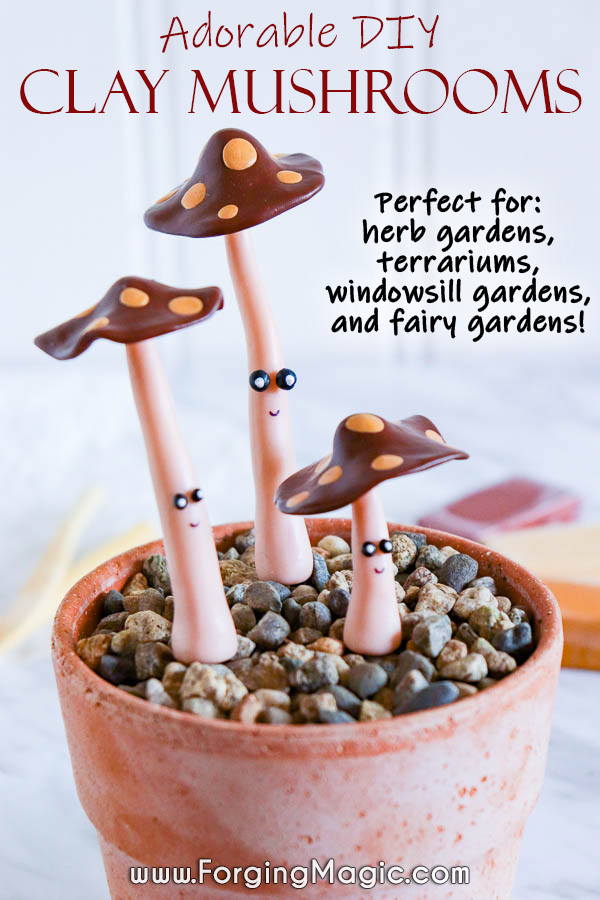 Polymer Clay Mushrooms DIY Project for Indoor Gardens