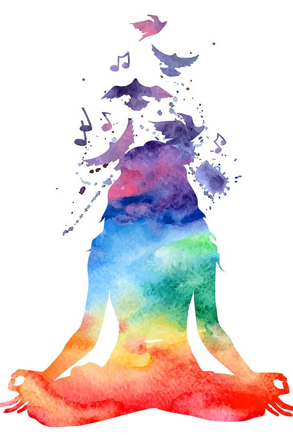 Yoga manifesting powerful self with rainbow colours