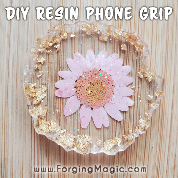 Resin DIY project with flowers and crystals