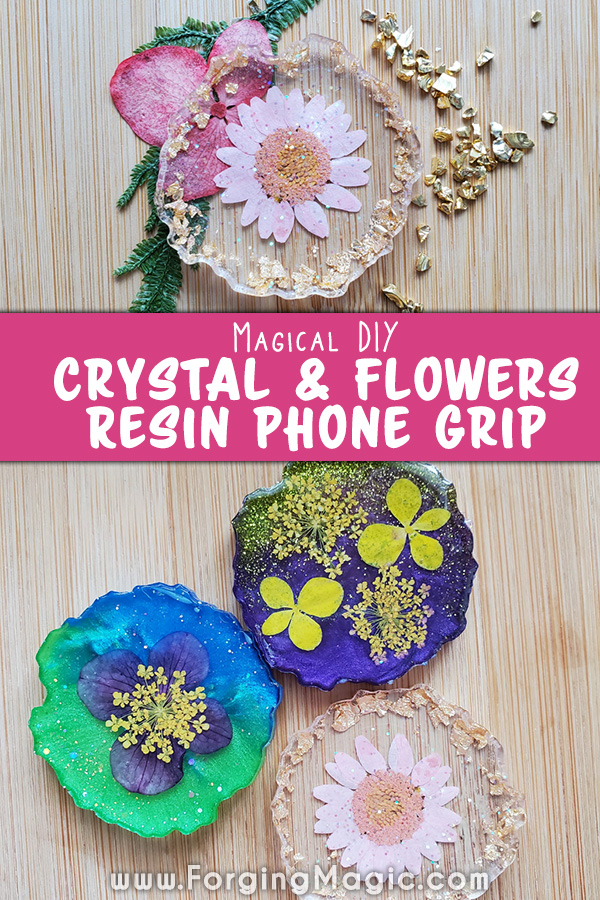 Crystal and flowers resin project